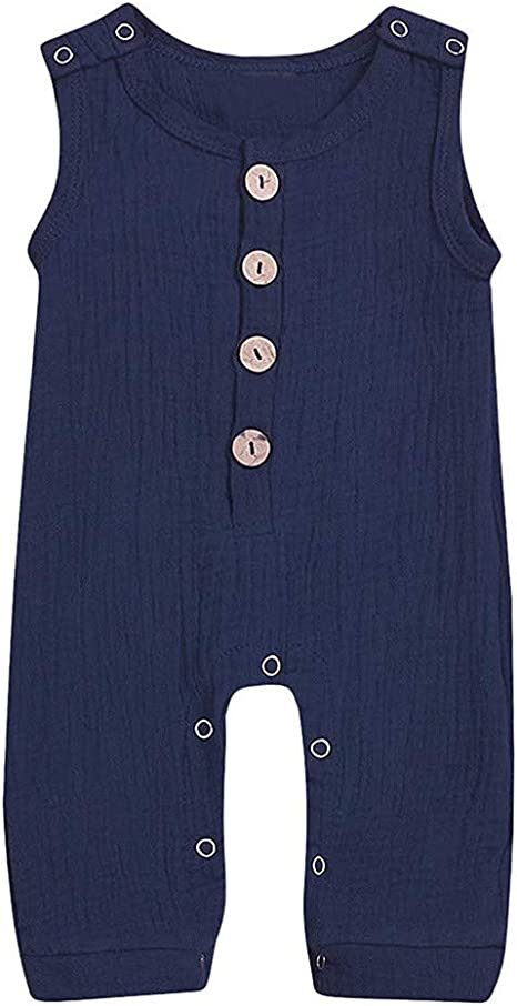 Trajes de mameluco Baby Girl, recién nacido, bebé, niña, niño, lino, botón sólido, mameluco, mono, ropa, trajes, mameluco, mono, azul, 12-18 meses: Amazon.es: Bebé