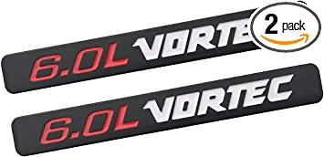 Black Red 2pcs Vortec Emblems Badge 3D Replacement for Chevrolet 2500hd GMC Sierra Silverado Gm Truck Liter Badge