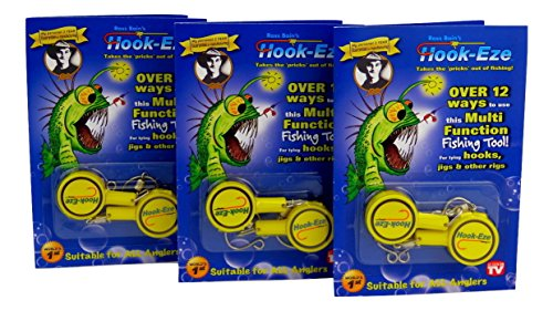 HOOK-EZE Fishing Gear Knot Tying Tool for Hooks Jigs Swivels (Yellow) | Line Cutter |Cover Hooks on Fishing Poles Travel Safely Fully Rigged. Ideal for Bass Ice Kayak Fishing