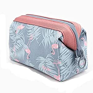 Large-capacity Travel Makeup Pouch for Women Girls, Ladies Steel Frame Cosmetic Bag (Blue flamingo)