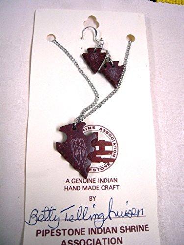 Native American Jewelry - Pipestone Arrowhead Jewelry Set Catlinite - Indian Arrowhead Types