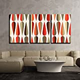 wall26 - 3 Piece Canvas Wall Art - Mid-Century Modern Style Retro Seamless Pattern with Drop Shapes in Various Color Tones - Modern Home Decor Stretched and Framed Ready to Hang - 24''x36''x3 Panels
