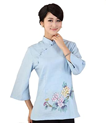 ab490c135 AvaCostume Women's Linen Chinese Style 3/4 Sleeve Blouse Qipao Top Shirt  Size US 4