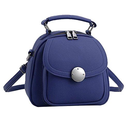 Bolsa de hombro Mujeres sólido Mochila multifuncional PU bolso de cuero bolso único femenina adolescente de Crossbody del viaje Mengonee Azul Profundo
