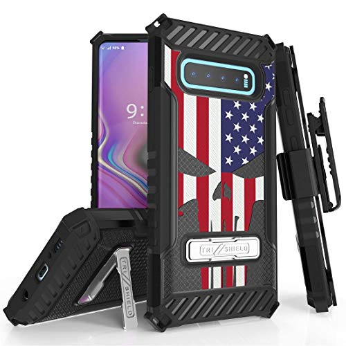 Beyond Cell TriShield Series Phone Case Compatible with Samsung Galaxy S10+ Plus, Military Grade Shockproof Protection Case with Belt Clip Holster - USA Skull Flag