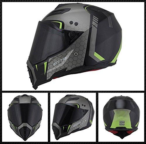 Woljay Dual Sport Off Road Motorcycle helmet Dirt Bike ATV D.O.T certified (XXL, Black+Silver)
