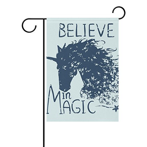 - WIHVE Winter Garden Flag 12 X 18 Inch, Believe in Magic Unicorn House Flag Two Side Printed Holiday Banner Decorative for Outdoor Party Home Decor