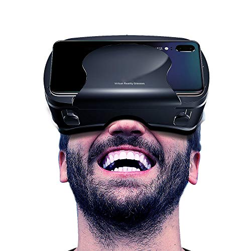 set, 3D VR Goggles HD View VR Headset Compatible with 3.5-6.5 Inches Phones Including VR Samsung,VR for iPhone XS/X/8/8 Plus/7/7Plus/6/6Plus/6s/5 Virtual Glasses(Black) ()