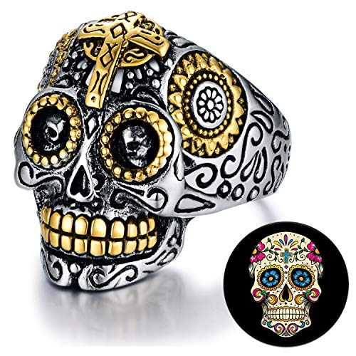 XIEXIELA Sugar Skull Rings Stainless Steel Day of The Dead Gothic Cross Flower Cool Mens Jewelry Halloween Size 12