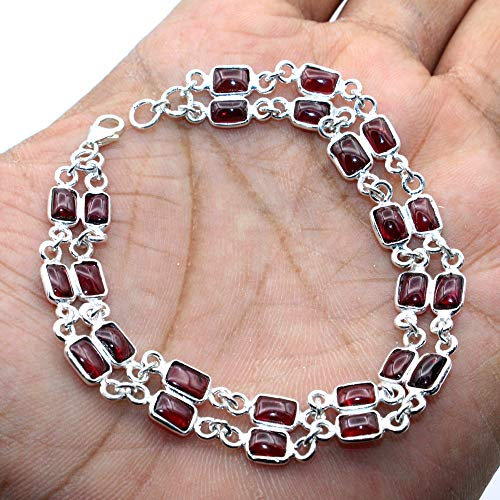 Christmas Special Natural Mozambique Garnet Gemstone Earring 925 Sterling Silver Jewelry Designer Bracelet Handmade Jewelry Two Line Bracelet Silver Jewelry -