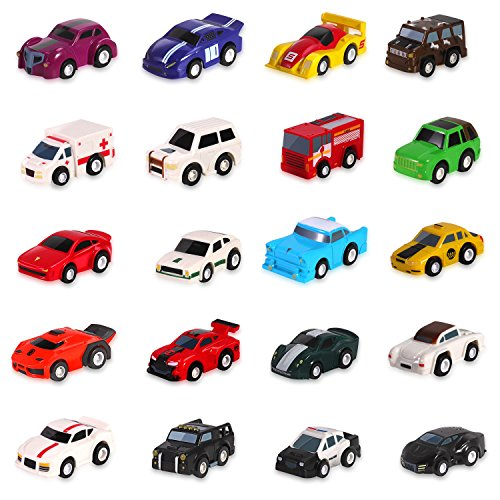 Liberty Imports 20 Assorted Pull Back Cars Deluxe Gift Pack Play Set - Colorful Mini Toy Cars with High Compression Springs - Race Cars, Police Car, Firetruck, Ambulance, and More!