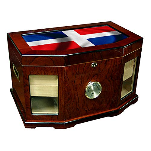 p Humidor - Glass Top - Flag of Dominican Republic - Waves Design - 300 Cigar Capacity - Cedar Lined with Two humidifiers & Large Front Mounted Hygrometer. ()