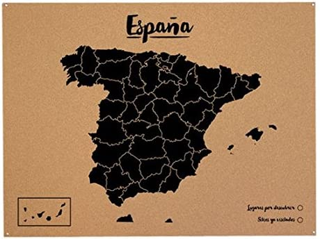Miss Wood Mapa de España de Corcho, Pino, Negro, L-45x60CM: Amazon.es: Hogar