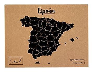 Carte Espagne Noir.Miss Wood Woody Map Carte De L Espagne En Liege Noir Format