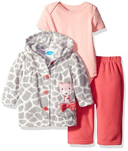 BON BEBE Baby Girls' 3 Piece Microfleece Jacket Set, Coral Giraffe, 3-6 ()