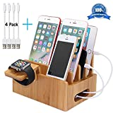 Pezin & Hulin Bamboo Charging Stations for Multiple Devices, Desk Docking Station Organizer for Cell Phone, Tablet, Watch (Include Bamboo Wood Dock Station, Watch Stand, 4 USB Charger Cables 8inch)