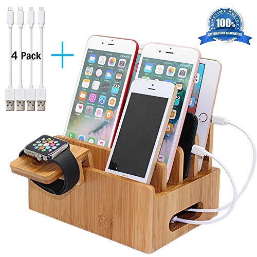 Pezin & Hulin Bamboo Charging Stations for Multiple Devices,Desk Dock Station Organizer for Cellphone,Tablets (Include Bamboo Docking Station, Apple Watch Stand, 2 Micro USB, 2 Lightning Cables 8inch) by Pezin & Hulin