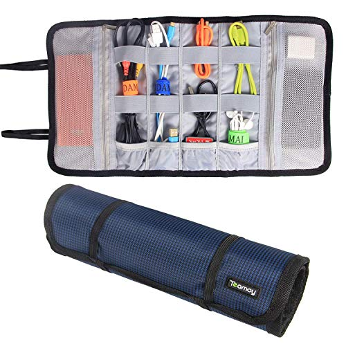 Teamoy Travel Accessories Bag Organizer, Universal Cable Carrying Case Roll Up Pouch for USB Flash Drive, Earphone Wire, Cord, SD Card, Dark Blue ()