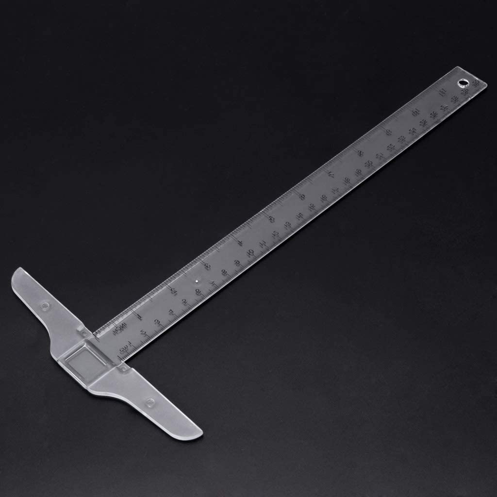Youngy 30cm//12 Plastic T-Square Metric Ruler cm//inch Double Side Scale Measuring Tool
