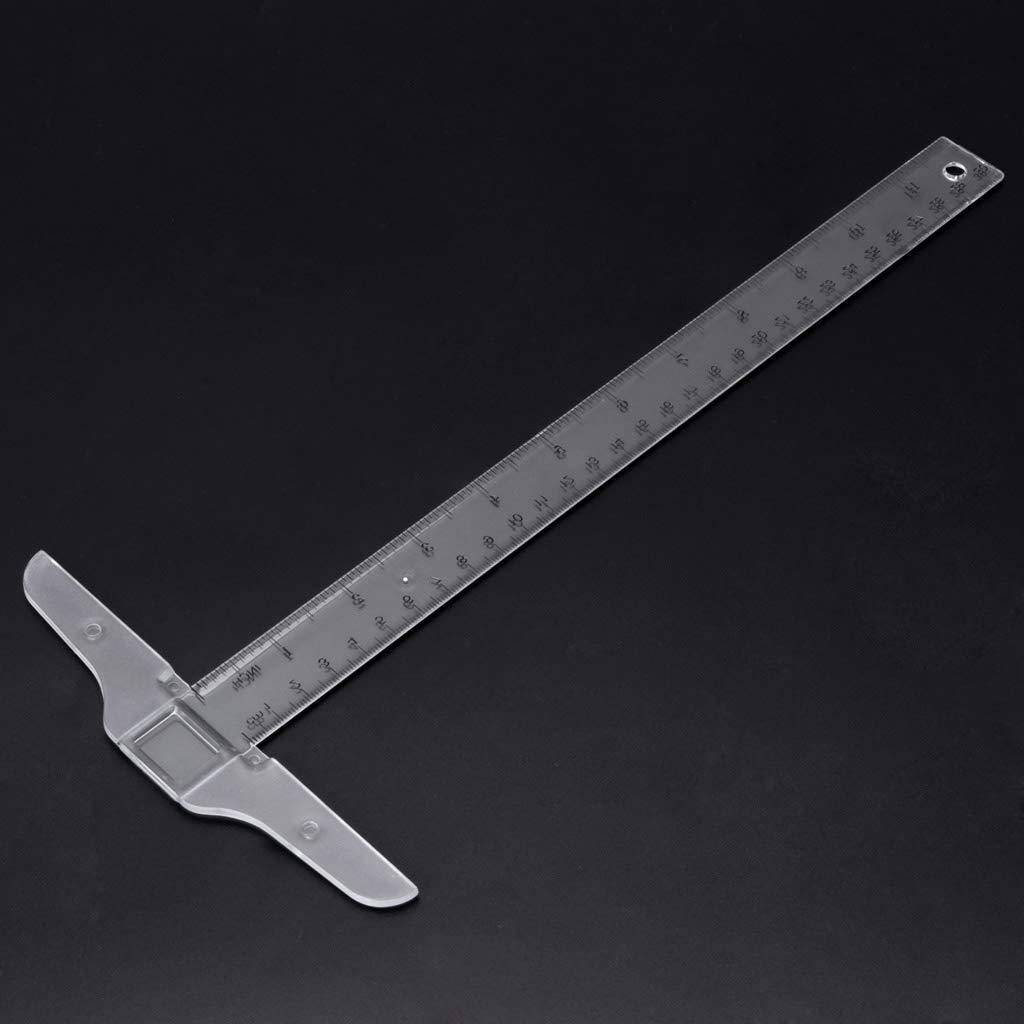 MIUSON 30cm//12 Plastic T-Square Metric Ruler cm//inch Double Side Scale Measuring Tool