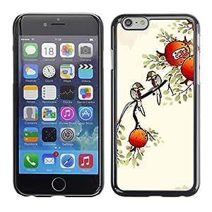 FECELL CITY // Duro Aluminio Pegatina PC Caso decorativo Funda Carcasa de Protección para Apple Iphone 6 // Apples Tree Autumn Fall Drawing Nature