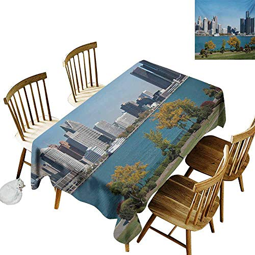 Mannwarehouse Detroit Polyester Tablecloth Industrial City Center Shoreline River Scenic Panoramic View in a Sunny Day Party W60 x L102 Blue Green -