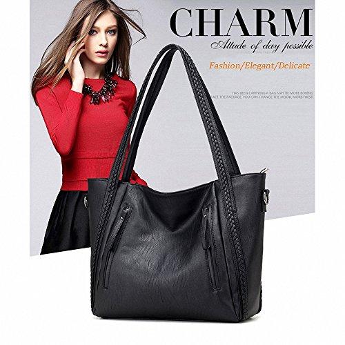 Big Capacity Women Handbags,Warmstore Vintage Leather Lady Tote Bag Woven Pattern Shoulder Bag Satchel (Braid Satchel Handle)