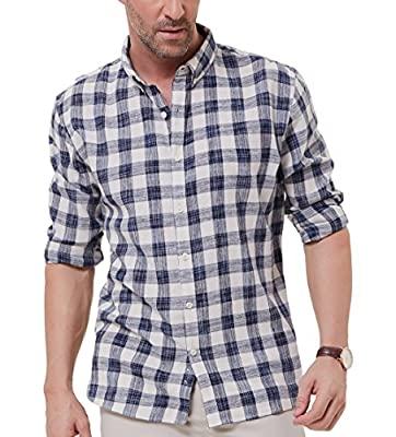 PAUL JONES Men's Long Sleeve Slim Fit Button Down Casual Cotton Plaid Shirt