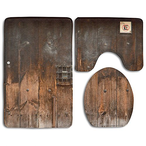 HOMESTORES 3 Piece Bathroom Rug Set - Rustic Country Wood Style Rustic Country Barn Wood Door Set Skidproof Toilet Bath Rug Mat U Shape Contour Lid Cover For Shower Spa by HOMESTORES (Image #6)