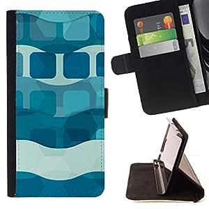 For HTC One A9 Case , Olas Líneas Dark Light Pastel Patrón- la tarjeta de Crédito Slots PU Funda de cuero Monedero caso cubierta de piel