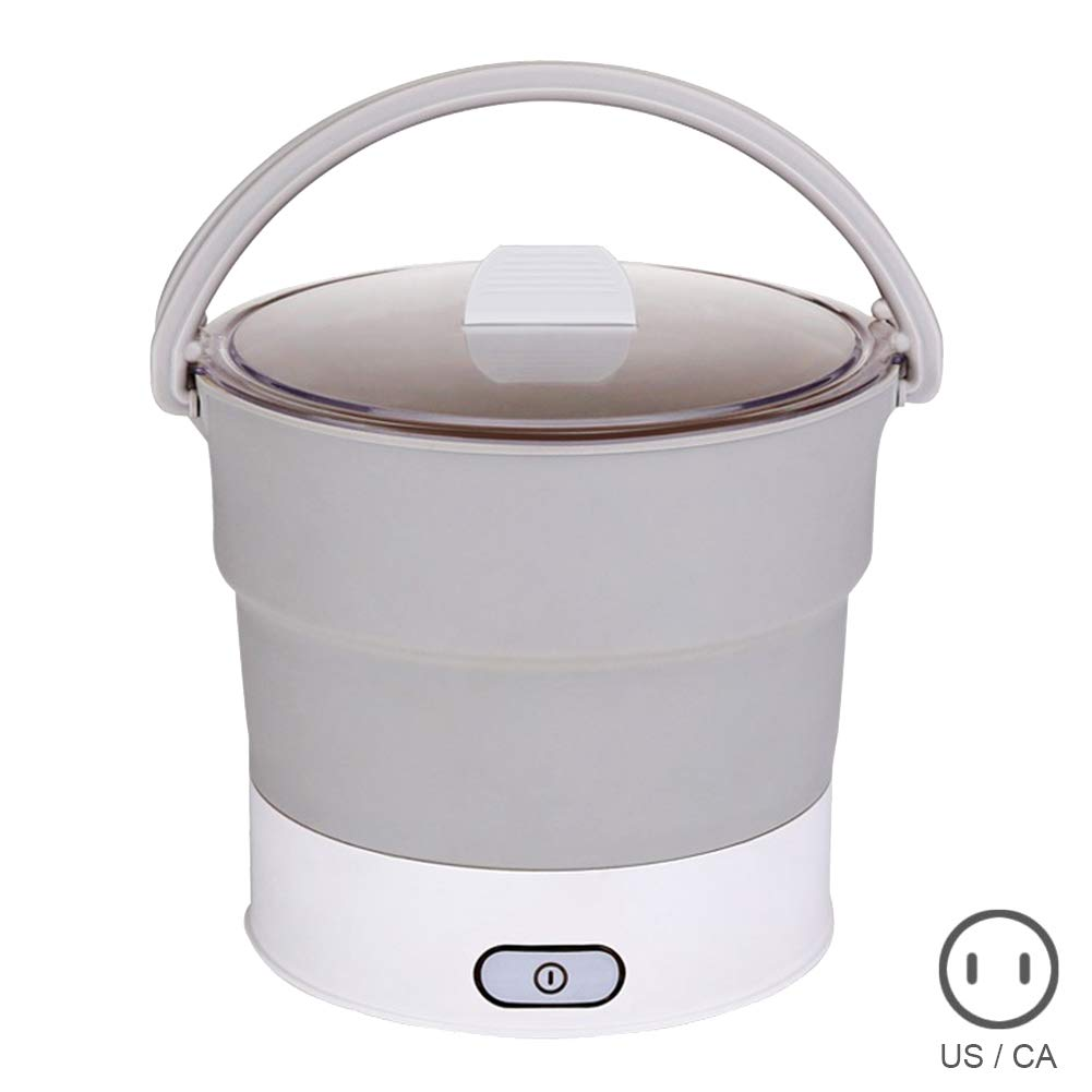 AMEOY Folding Hot Pot Electric Skillet Kettle Heated Food Container Travel Cooker Tool