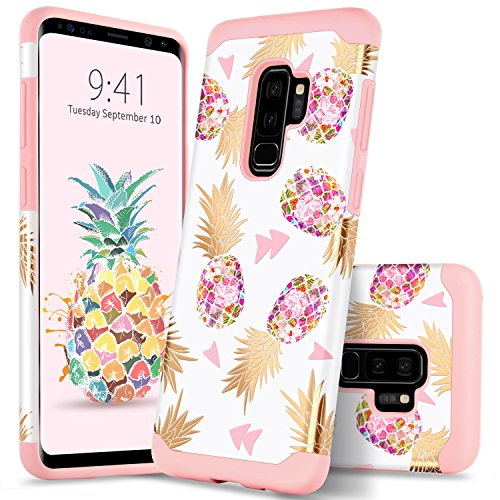 GUAGUA Galaxy S9 Plus Case Samsung S9 Plus Case Colorful Pineapple Slim Hybrid Hard PC Soft Silicone Cover Shockproof Protective Case for Samsung Galaxy S9 Plus Case for Girls&Women Rose Gold Pink