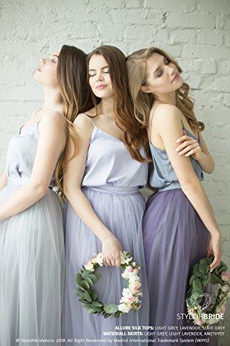 Grey Lavender Bridesmaids Allure Dress Tulle Skirt, Long Floor Length Waterfall Tulle Skirt, Prom Simple Lavender Dress, Silk Cami Top