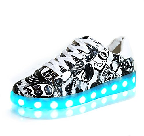 Sabe 7 Colors Luminous LED Shoes Women and Men Print Sneakers(USB Charging)