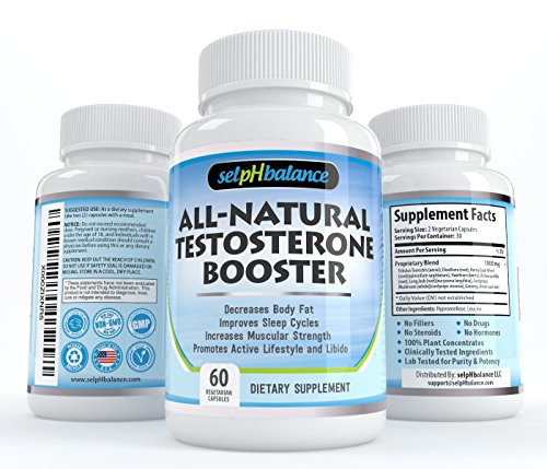 Natural Testosterone Booster for Muscle Growth, Male Enhancement, Sex Drive, Energy, Horny Goat Weed, Tribulus, Hawthorn, Zinc, Minerals with Ashwagandha, Herbal & Potent   60 Vegetable Capsules USA