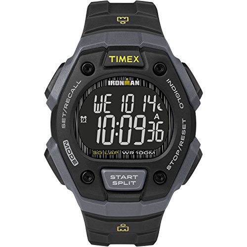 Timex Men's TW5M18700 Ironman Classic 30 Black/Gray/Negative Resin Strap (Alarm Chronograph 100m Mens Watch)