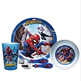 Zak Designs Marvel Comics Kids Dinnerware Set Includes Plate, Bowl, Tumbler and Utensil Tableware, Made of Durable Material and Perfect for Kids (Spider-Man, 5 Piece Set, BPA-Free)