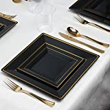 Kaya Collection - Square Black and Gold Disposable Plastic Dinnerware Party Package - 60 Person Package - Includes Dinner Plates, Salad/Dessert Plates, Gold Cutlery and Tumblers