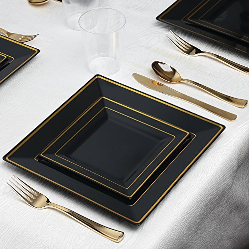 Kaya Collection - Square Black and Gold Disposable Plastic Dinnerware Party Package - 60 Person Package - Includes Dinner Plates, Salad/Dessert Plates, Gold Cutlery and Tumblers (Black Dinnerware Plates Square)