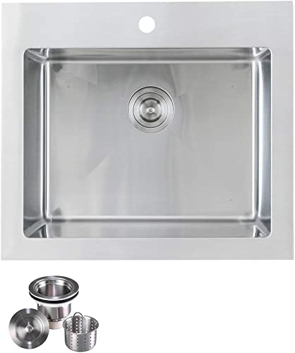KABCO K-SSLA01-PKG Laundry Sink Undermount or Top Mount Single Bowl Stainless Steel 25 X 22 X 12