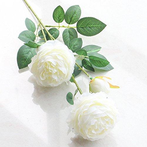 Artfen 5 Pack 3 Heads Artificial Silk European Rose Flower Peony Flower Long Stem Fake Plastic Flowers Home Garden Party Wedding Decoration DIY Wreath approx 26'' High ()