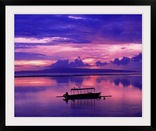 GreatBIGCanvas ''Sunrise Bali/Sanur Indonesia'' Entitled Photographic Print with Black Frame, 36'' X 29'' by greatBIGcanvas