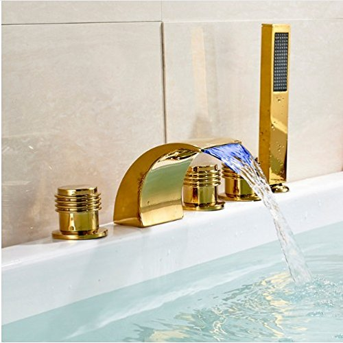 Gowe Bathroom 5pcs LED Waterfall Tub Filler Faucet with Hand Shower Gold (Gold Polished Tub)