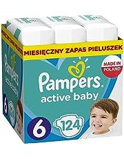 Pampers Active Baby Rozmiar 6, 124 pieluszki, 13-18 kg, z 3 kanalikami chłonnymi