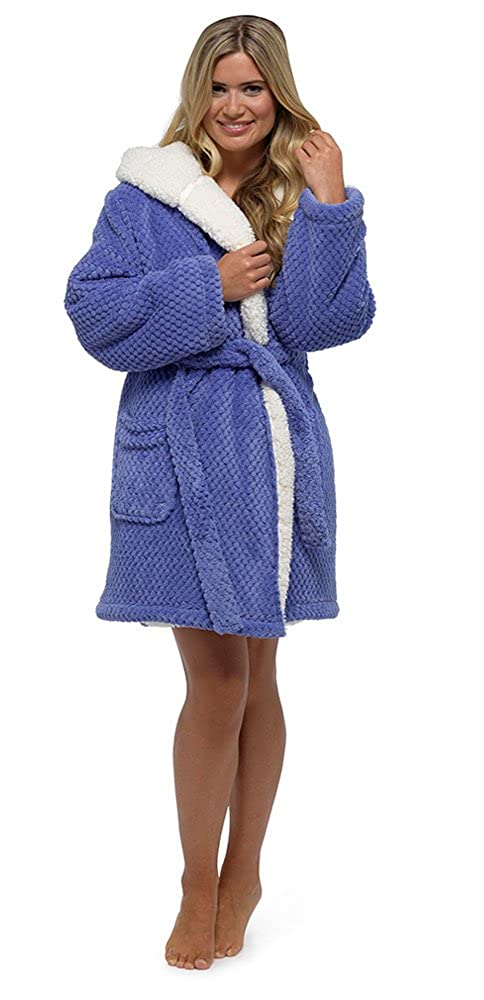 Foxbury Women's Waffle Sherpa Lined Bath Robe Dressing Gown