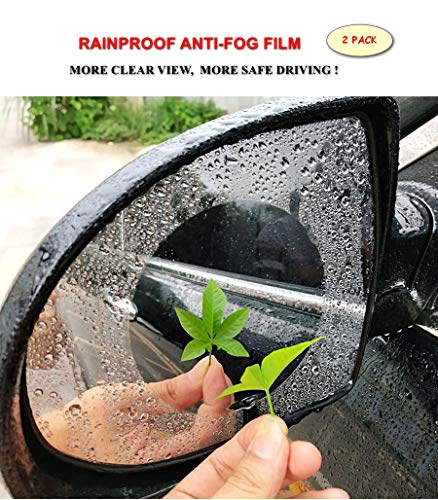Anti-fog Car Rearview Mirror Film, Anti Water Mist Anti-glare Anti-Scratch, Rainproof HD Clear Nano Protective Film for Side Window Bathroom Vanity and Other Glass Mirrors (Round 2PCS)
