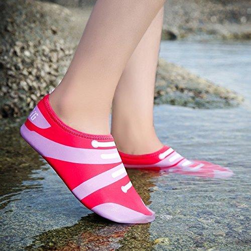 de zapatos acuático esquí Ultra piel Anti natación calzado light cuidado la playa SK Skid de 3 rosa transpirables Lucdespo roja zapatos 4ptfqXvz4