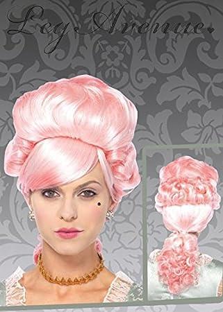 Peluca De Sirena Rosa Largo Rizado con flecos para Adulto Para Mujer Smiffys Fancy Dress Costume
