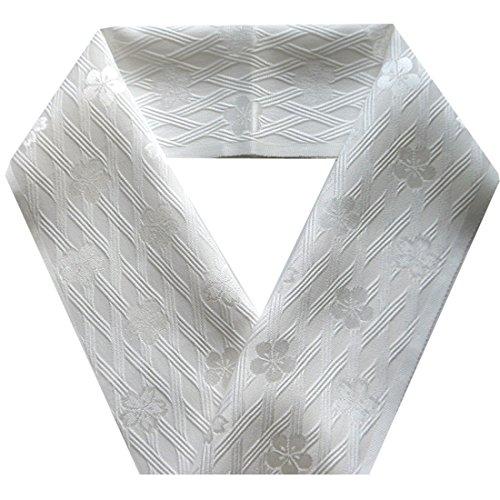 正絹 半衿 白 斜格子梅桜 変わり織り 日本製