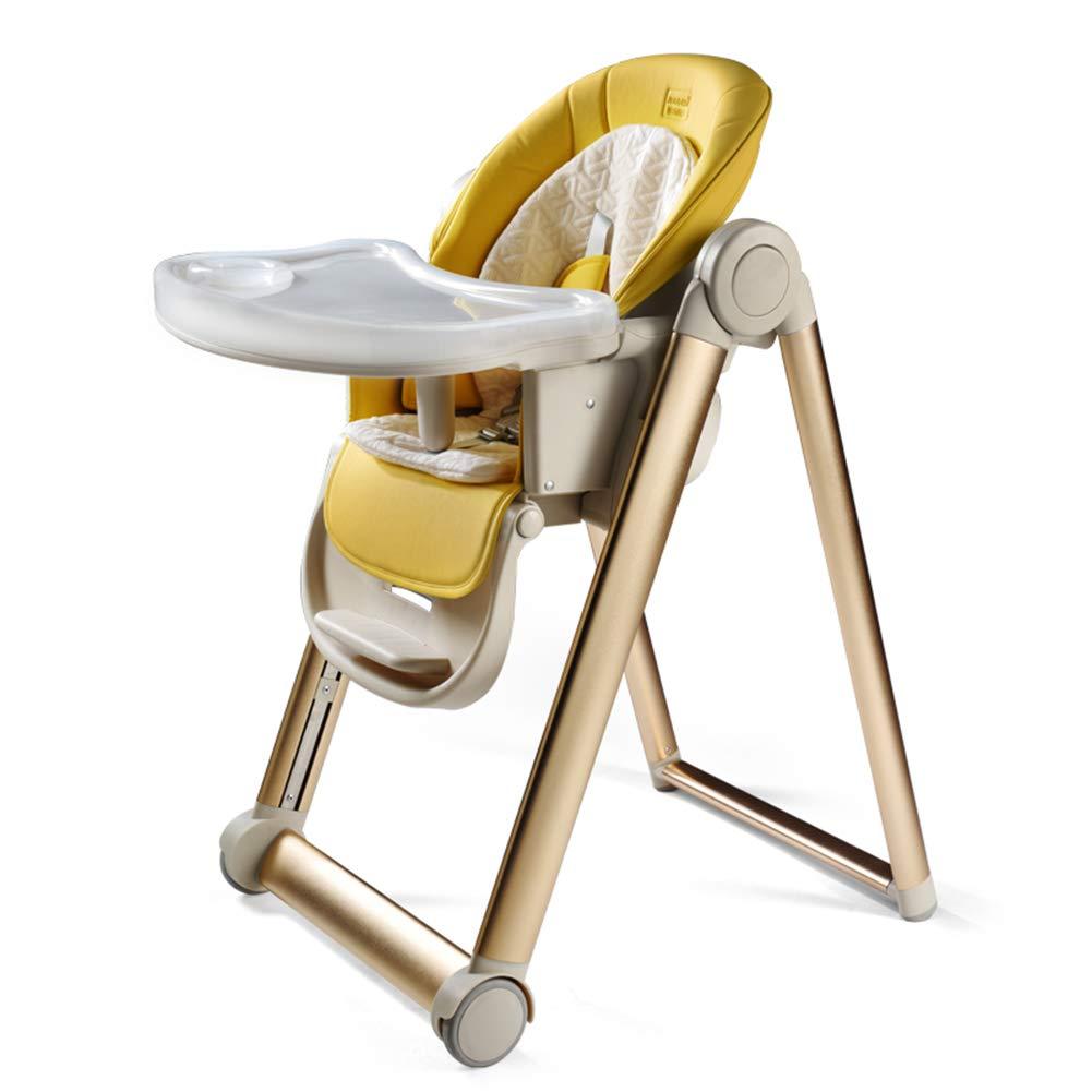 ベビーチェア 幼児のためのFoldable赤ん坊の高い椅子Foldable高い椅子、2つの皿が付いている多機能の容易な座席携帯用供給のハイチェア (色 : イエロー いえろ゜)  イエロー いえろ゜ B07MPY4RJM